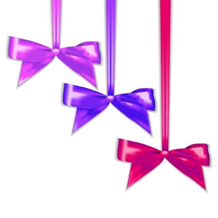 voilet: Set of elegant silk color bows.