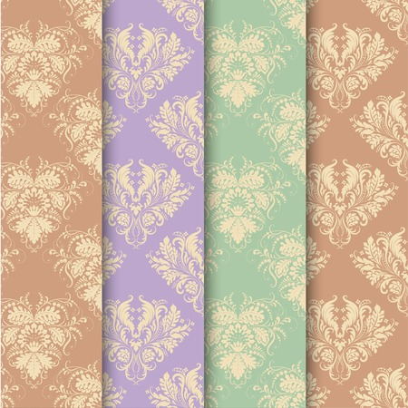 Set of seamless background in vintage style. Vector