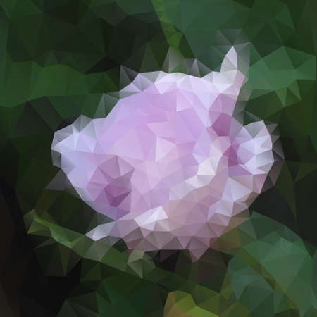 polyhedral: Elegance pink flower with polygons for design, vector