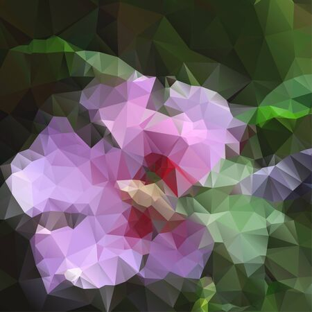 polyhedral: Vector lace pink flower with polygons for design
