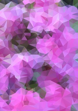polyhedral: Vertical abstract background with polygons for design, vector abstract pink flowers