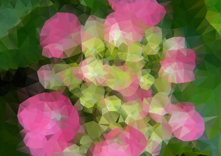polyhedral: Vector pink flower with polygons for design Illustration