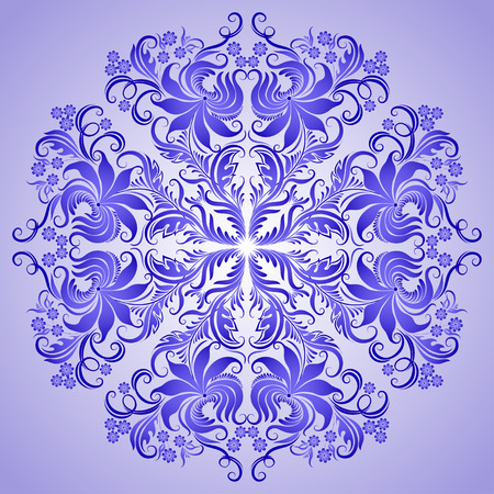 lace filigree: Vector pattern of blue ornament with lace filigree elements for design