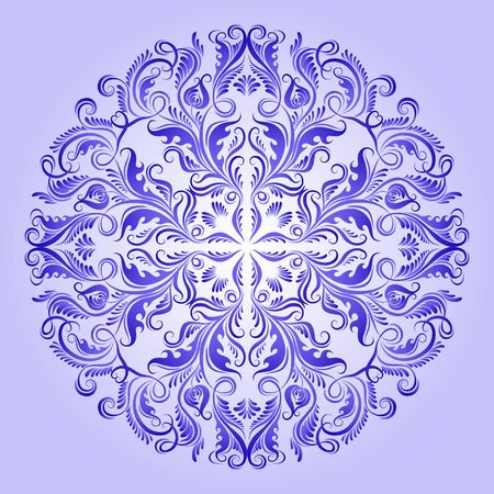 blue flowers: Vector ethnic pattern of blue ornament with lace filigree elements for design