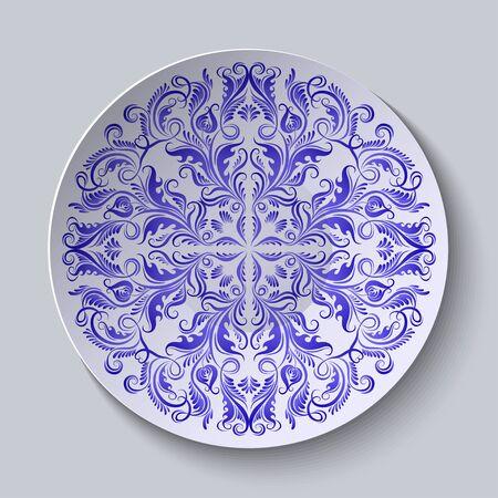 ceramic: Vector floral circular plate with blue ethnic ornament. Decorative ceramic plate Vectores