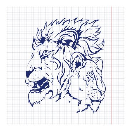 Vector mano boceto dibujado de los leones para el diseño, tatuaje
