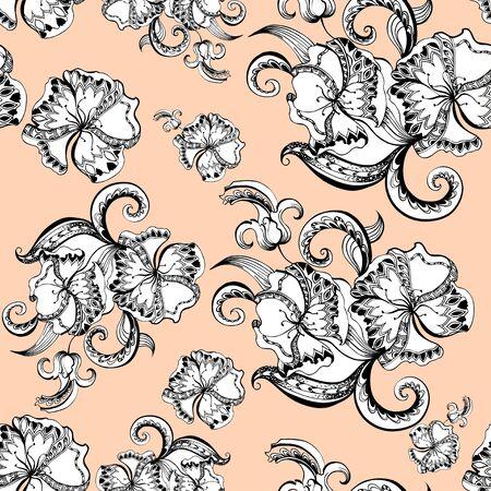 sketchy: Seamless of sketchy doodles decorative floral pattern for design