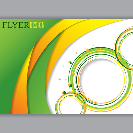 orange color: Background concept design for horizontal brochure or flyer, abstract vector illustration. Green and orange color.