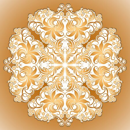 lace filigree: Vector pattern of ethnic ornament with lace filigree elements for design