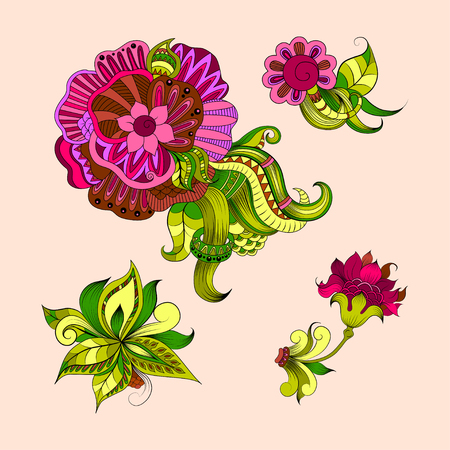 sketchy: Sketchy doodles decorative floral outline with colorful style for design