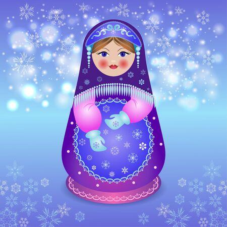 russian doll: Russian traditional matryoshka folk doll on Christmas festive winter background
