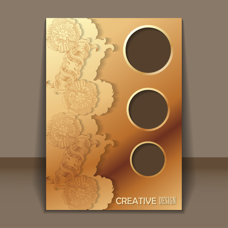 royal invitation: Vector royal invitation card with hand-drawing ornaments with gold color for design
