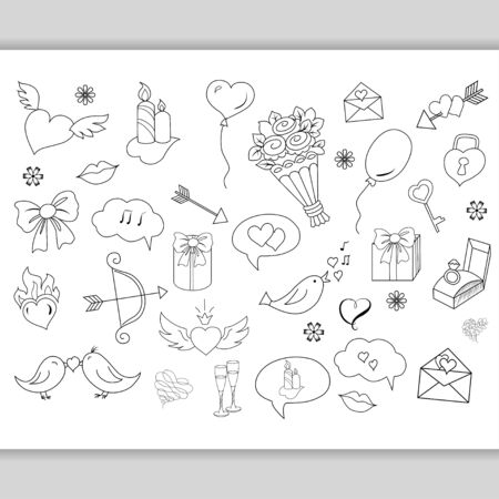 sketchy: Sketchy  love doodles objects and elements, symbols Illustration
