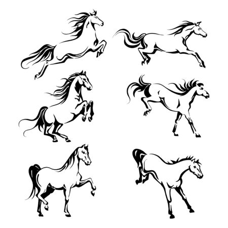 running back: Vector set with hand-drawing graphic of a running horses for design