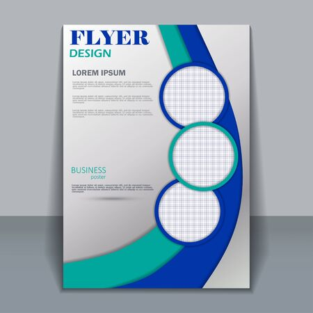 blue grey: Vector flyer template for design. Editable A4 poster for business,  magazine cover. Blue and turquoise color.