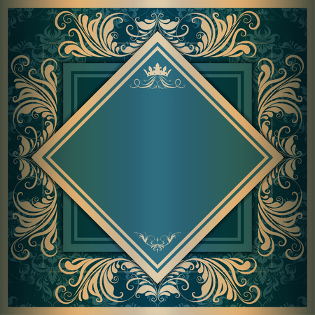 filigree: square frame with filigree ornament on vintage background for design Illustration