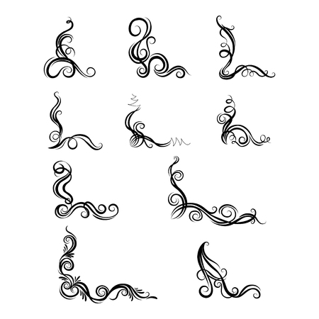 Set of ornaments with decorative graphic elements for design Illustration