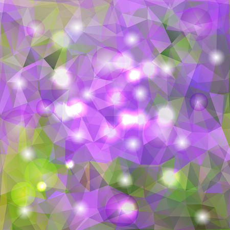 polyhedral: Vector modern geometric background with green and purple polygons for design Illustration