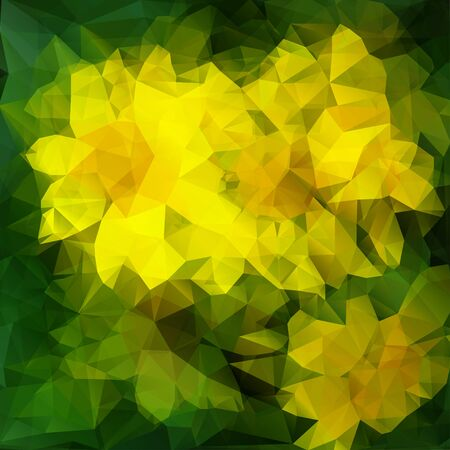 polyhedral: Vector modern abstract polygonal background with green and yellow color for design Illustration