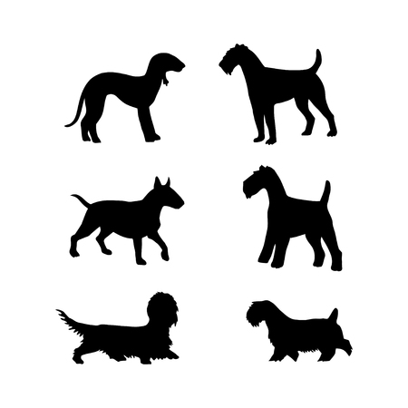 Vector set of dogs silhouette for design on isolated background