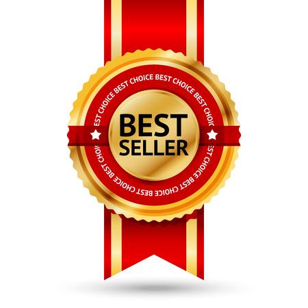 Premium gouden en rode Best Seller label met Beste keuze tekst eromheen