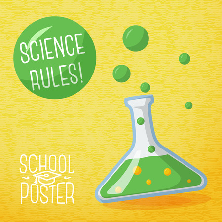 Cute school poster - school globe, with speech bubble and slogan   Vector
