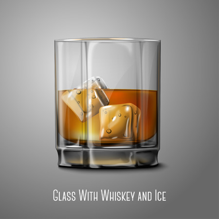 bourbon whisky: Realistic Vector glass with   Whiskey and ice isolated on gray background