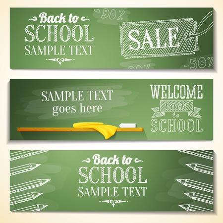 school teachers: Conjunto de banderas de la escuela con el lugar de texto de ejemplo para su vector mensaje Vectores
