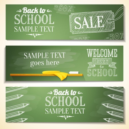 Set of school banners with sample text place for your message  vector