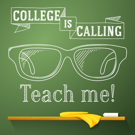 eye sight: Nerd glasses on the chalkboard with college is calling greeting  Vector