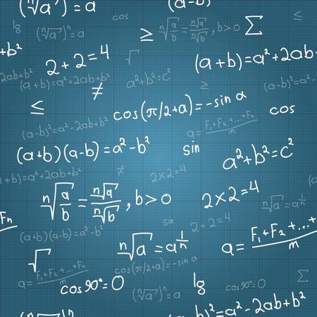 school background: Mathematical formulas vector seamless pattern on blueprint  Vector