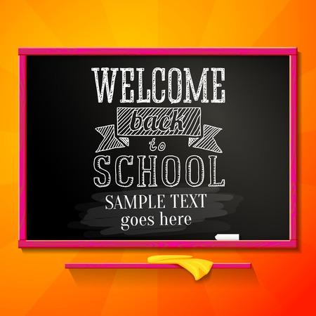 green back: Bright school chalkboard with greeting for welcome back to school and place for your text  Vector