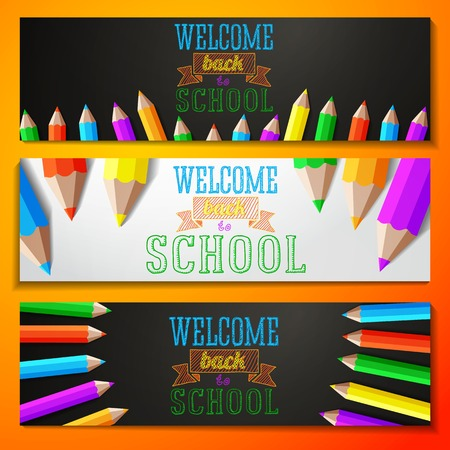 Set of school banners with place for your text and welcome back to school greeting  Vector Vector