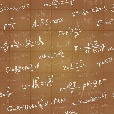 Physics formulas vector seamless pattern on brown blueprint  Vector Vector