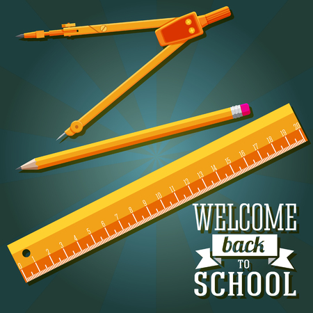 Welcome back to school greeting with ruler, pencil and compass  Vector