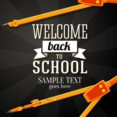 Welcome back to school greeting card with place for your text, and dividers on chalkboard background  Vector Vector