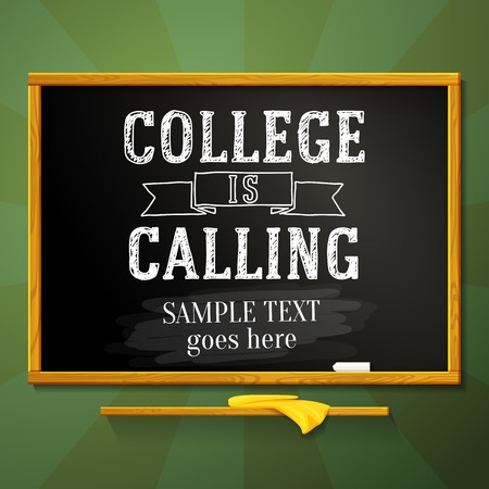 School chalkboard with college is calling greeting and place for your text  Vector