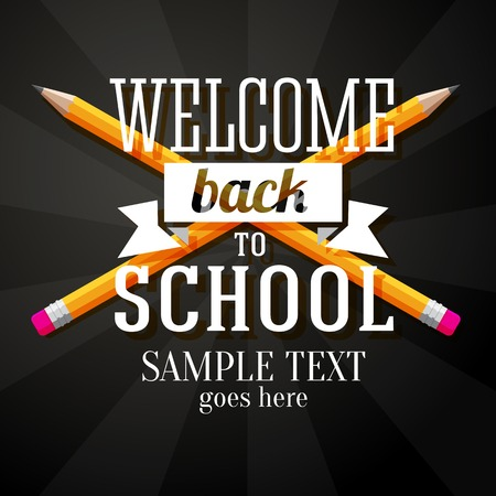 Welcome back to school greeting with two crossed pencils and place for your text  Vector