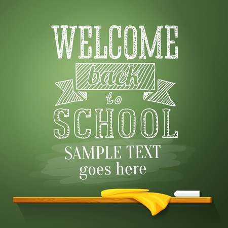 school border: Welcome back to school message on the chalkboard with place for your text  Vector