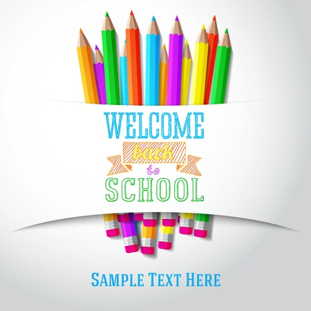 green back: Welcome back to school hand-drawn greeting with color pencils under the paper ribbon  Vector