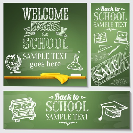 Welcome back to school messages on the chalkboard  Drawings - globe, notebook, book, graduation cap, bus, science bulb  Vector Vector