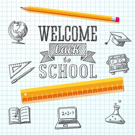freehand drawing: Welcome back to school message on paper  With drawings - globe, notebook, text book, graduation cap, bus, science bulb, pencil, ruler  Vector