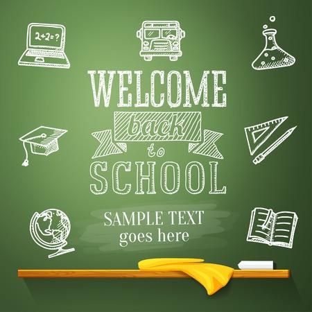 欢迎回到在黑板上的学校信息与您的文本的地方 - 地球,笔记本,教科书,毕业帽,公共汽车,科学灯泡