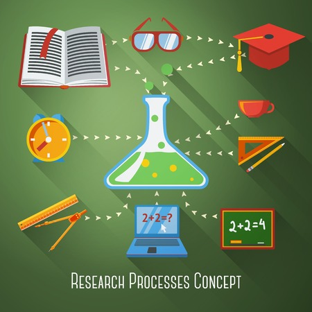Flat concept of research, education processes  With icons - notebook, blackboard, book, graduation cap, science bulb, pencil and ruler, clock, coffee cup, glasses  Vector