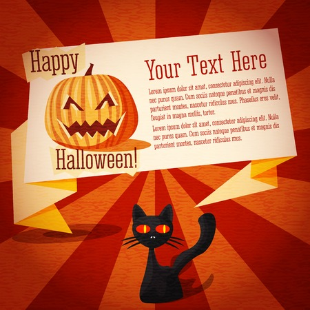 craft paper: Happy halloween cute retro banner on the craft paper texture with black cat and pumpkin