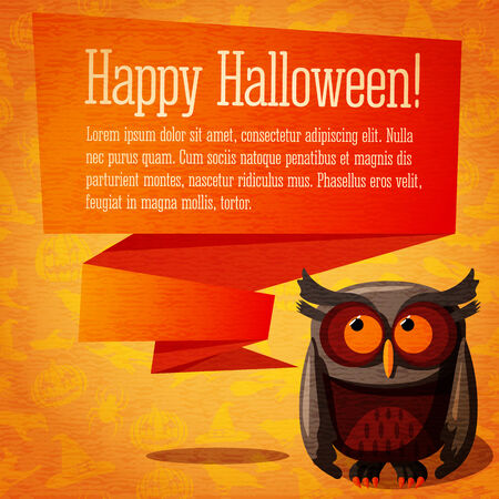 craft paper: Happy halloween cute banner or greeting card on the craft paper texture with brown owl and speech bubble from her head for your text. Background - witches, pumpkins, spiders, bats.