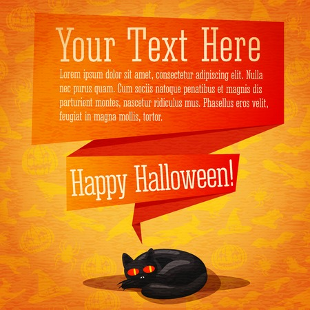 Happy halloween cute retro banner or greeting card on craft paper texture with black cat and speech bubble from her head for your text. On the background - witches, pumpkins, spiders, bats. Vector