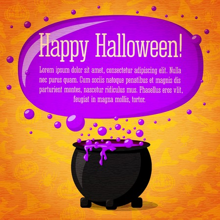 Happy halloween cute retro banner on craft paper texture with black witch cauldron boiling the potion, greeting and place for your text. Background - witches, bats, spiders. Vector
