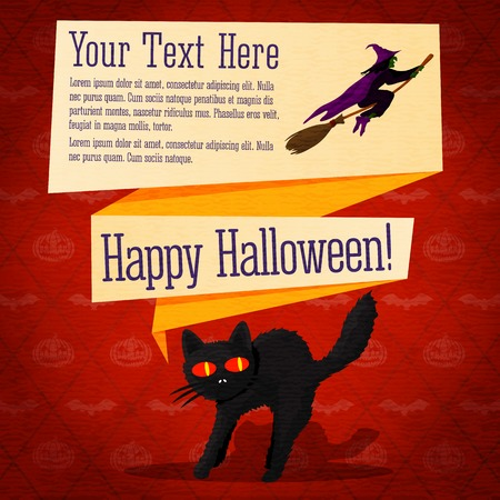startled: Happy halloween cute retro banner - craft paper texture with black startled cat and witch on the broomstick, greeting, place for your text.