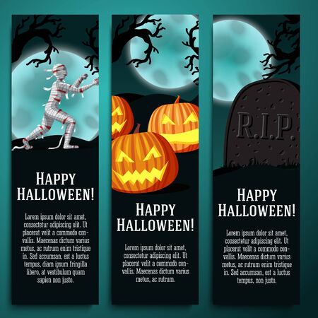 Set of halloween banners with mummy, jack o lantern pumpkins, R.I.P. tombstone symbols - moony background and scary tree branches. Vector